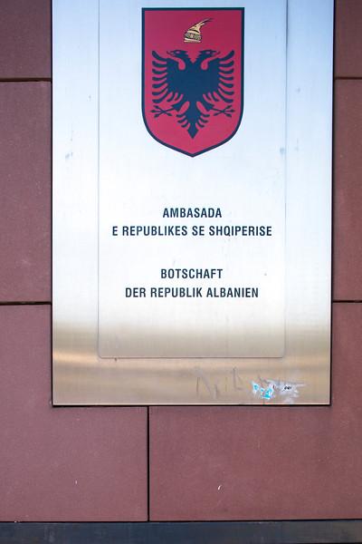 Sign of Albanian embassy on Friedrichstrasse, Berlin, Germany