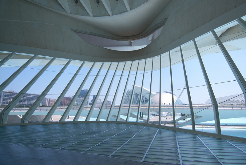 View from inside Palau de les Arts Reina Sofia in Valencia, Spain