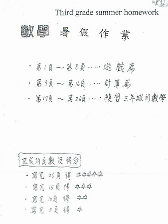 3rd Grade Chinese Summer Math Homework