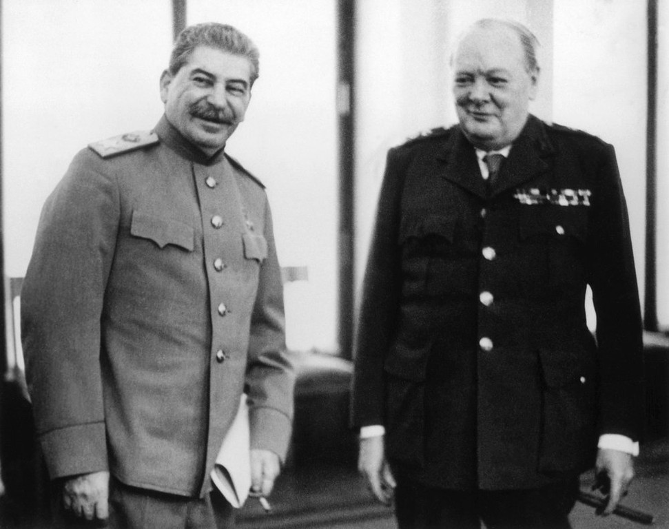 . 8th February 1945:  Marshal Joseph Stalin and Winston Churchill together at the Livedia Palace in Yalta, where they were both present for the conference.  (Photo by Central Press/Getty Images)