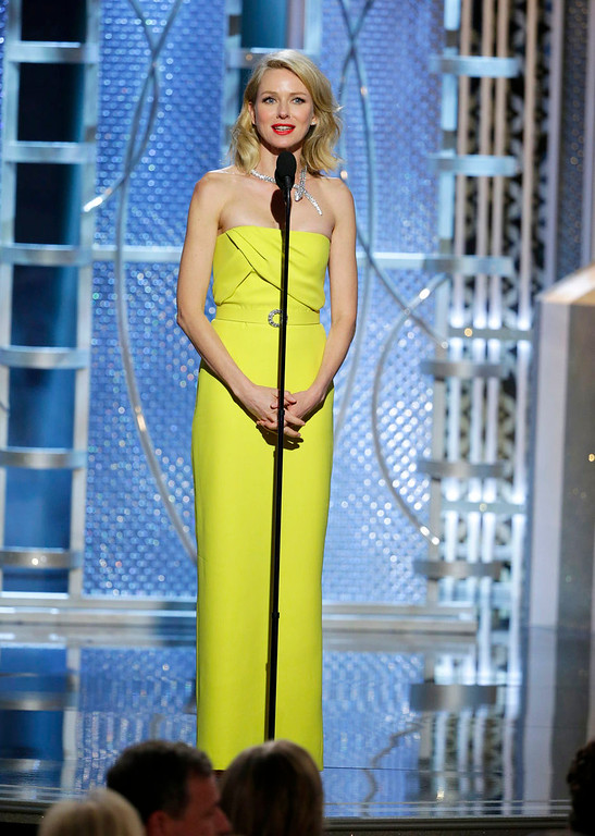 . In this image released by NBC, Naomi Watts presents an award at the 72nd Annual Golden Globe Awards on Sunday, Jan. 11, 2015 at the Beverly Hilton Hotel in Beverly Hills, Calif. (AP Photo/NBC, Paul Drinkwater)