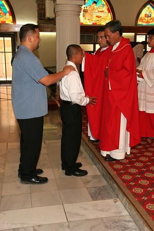 Mt. Carmel Confirmation 2010 Anointing of confirmandi candidates