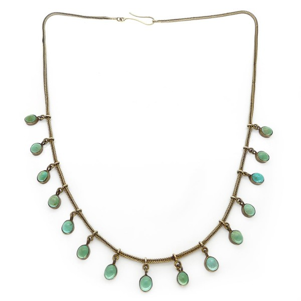 ANTIQUE EDWARDIAN SILVER GILT TURQUOISE DROP NECKLACE
