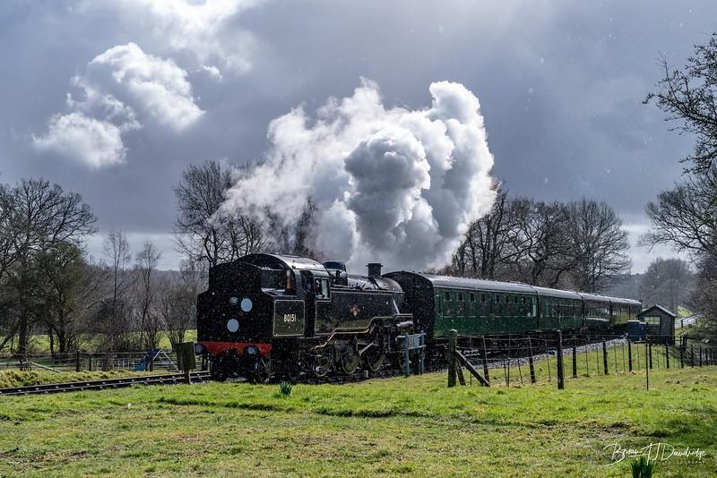 BR Standard Tank No.80151 approaches Kingscote Station
