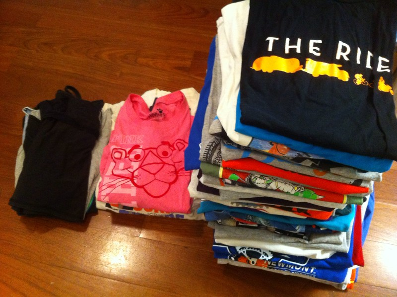 58 T-shirts, 5 long-sleeved T-shirts and 7 tank tops