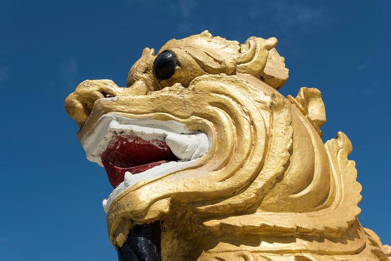 Golden Chinthe (Lion deity) statue at Aung Theikdi Zedi Pagoda in Mawlamyine (Mawlamyaing), Burma (Myanmar)