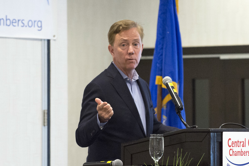 05/13/19  Wesley Bunnell | Staff  Governor Ned Lamont spoke with the Central Connecticut Chambers of Commerce on Monday in Bristol. Governor Lamont answers a question from the audience.