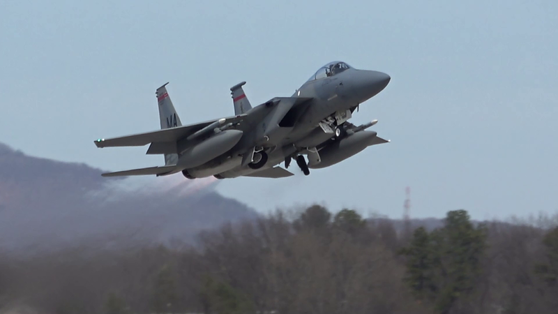 4-24-18...four F-15s departing to south...last one from lumberyard...low approaches & landings of all four