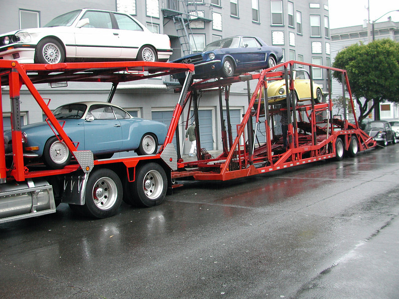 Loading up a shipment of cars in San Francisco to send back to Pa.