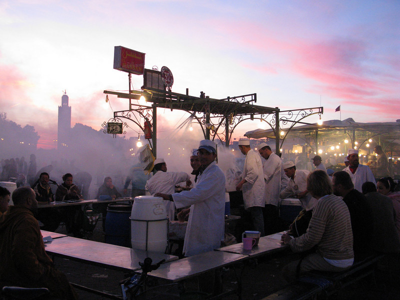 the famous square Djamma al Fnaa at sunset: enough food for everyone