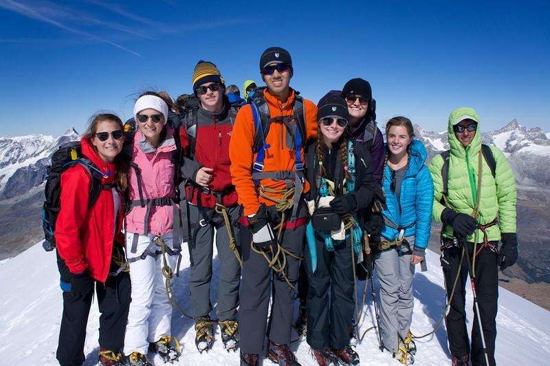 Genny, Charlotte, Matt, Pranav, Claire, Ms. Barnett, Caroline, and Swiss Guide Thomas atop Breithorn