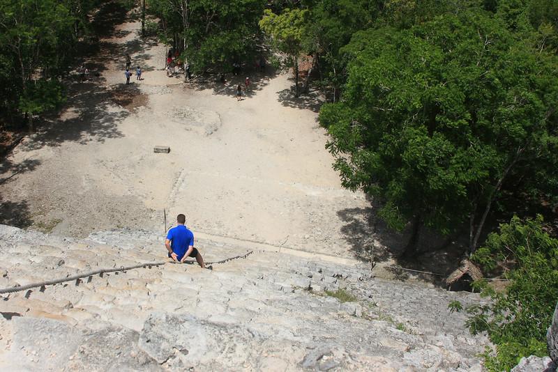 Descending the Ixmoja pyramid
