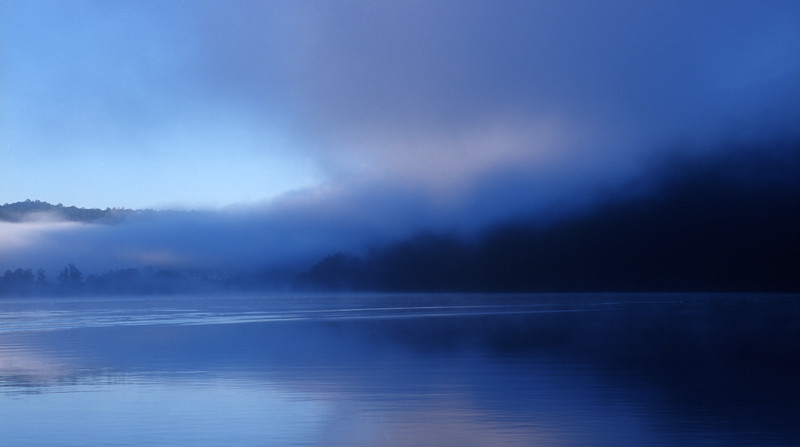 Mist over water in the  early morning Hawkesbury River NSW, Australia