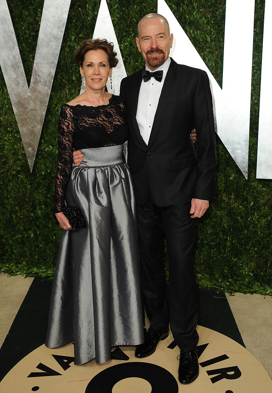 . From left, Robin Dearden and actor Bryan Cranston arrive at the 2013 Vanity Fair Oscars Viewing and After Party on Sunday, Feb. 24 2013 at the Sunset Plaza Hotel in West Hollywood, Calif. (Photo by Jordan Strauss/Invision/AP)