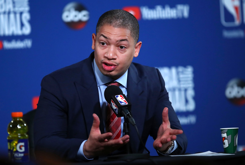 . Cleveland Cavaliers head coach Tyronn Lue speaks at a news conference after Game 1 of basketball\'s NBA Finals between the Golden State Warriors and the Cavaliers in Oakland, Calif., Thursday, May 31, 2018. The Warriors won 124-114 in overtime. (AP Photo/Ben Margot)