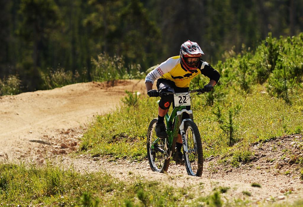 . WINTER PARK, CO. - July 26: Mark Scott is in the first stage of First international Enduro World Cup Championship ever in U.S. at Winter Park, Colorado. July 26, 2013.  (Photo By Hyoung Chang/The Denver Post)