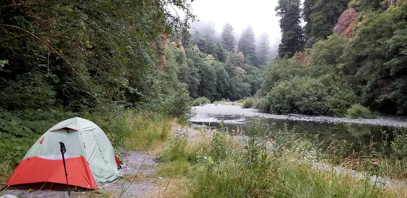 My tent at our first night campsite on Redwood creek