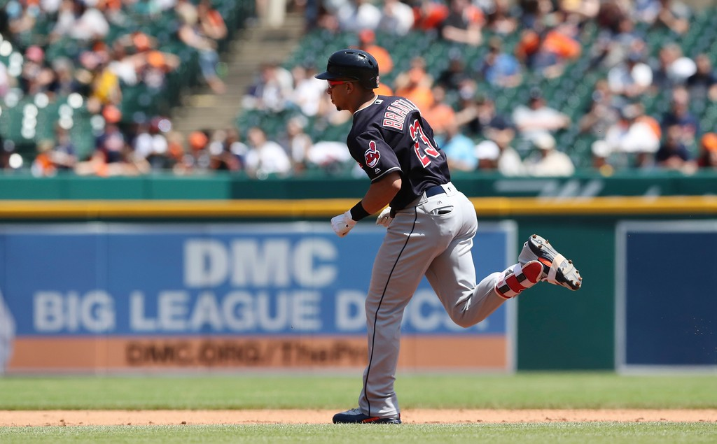 . Cleveland Indians\' Michael Brantley rounds the bases after his solo home run during the fifth inning of a baseball game against the Detroit Tigers, Wednesday, May 16, 2018, in Detroit. (AP Photo/Carlos Osorio)
