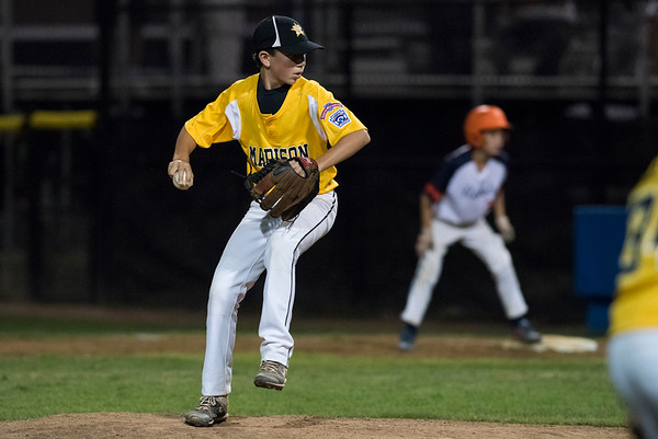 08/06/19 Wesley Bunnell | Staff Connecticut defeated Massachusetts in a Eastern Regional Little League Tournament game on Tuesday night at Breen Field in Bristol. Johnny Reh (10).
