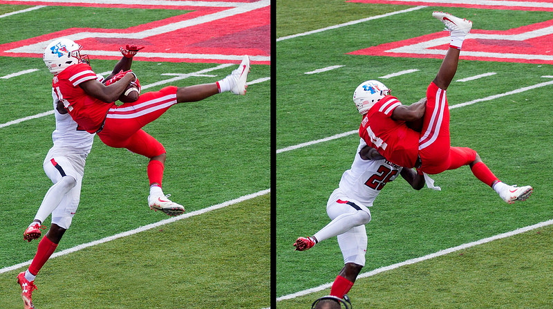 Dramatic reception by UH's King for a 21 yard gain.