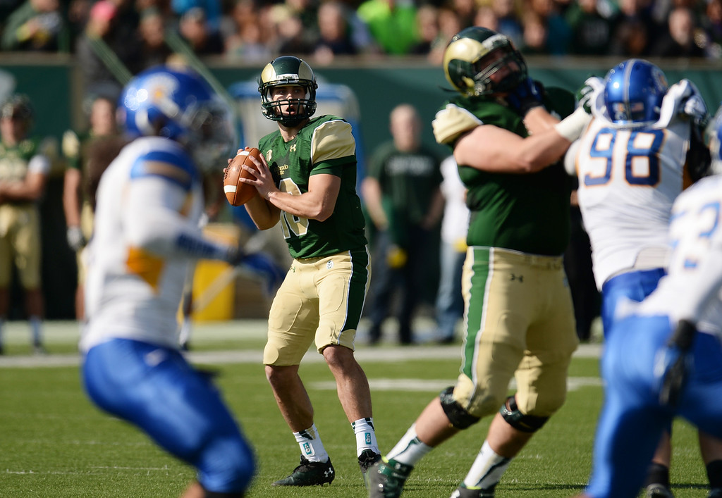 . FORT COLLINS, CO - OCTOBER 12 : Garrett Grayson of Colorado State (18) looks to make a pass during the 1st half of the game against San Jose State at Hughes Stadium. Fort Collins. Colorado. October 12, 2013. San Jose won 34-27. (Photo by Hyoung Chang/The Denver Post)
