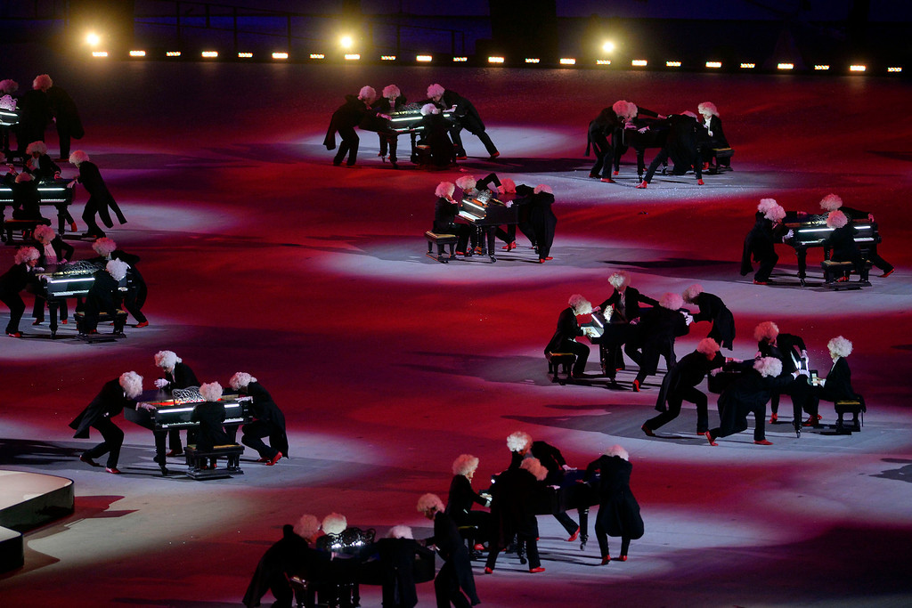 . Performers pay homage to Russia\'s rich history of musical composers during closing ceremony for the Sochi 2014 Winter Olympics. Sochi 2014 Winter Olympics on Sunday, February 23, 2014 at Fisht Olympic Stadium. (Photo by AAron Ontiveroz/ The Denver Post)