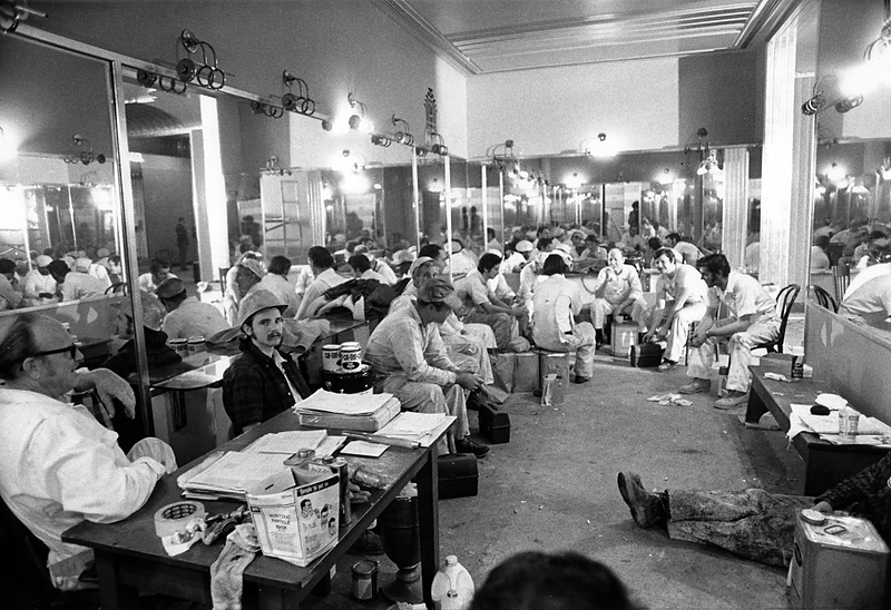 . Workers take a lunch break in the ornately mirrored women\'s restroom at the Paramount Theatre in Oakland in 1973. (Kenneth Green/Bay Area News Group Staff Archives)