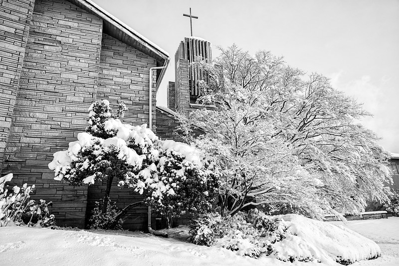Tibbets United Methodist Church covered in snow, West Seattle.