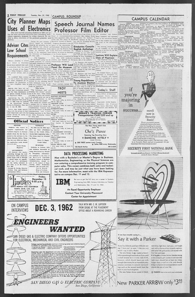 Daily Trojan, Vol. 54, No. 41, November 27, 1962
