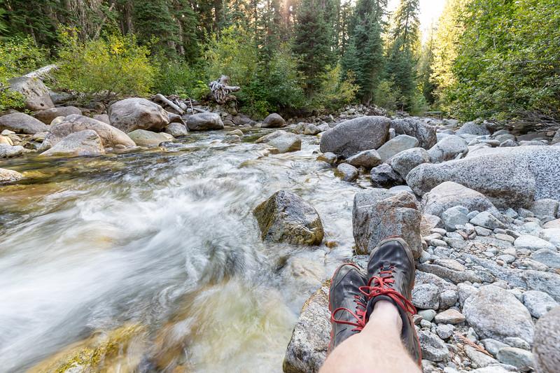 Relaxing at camp next to Bridge Creek