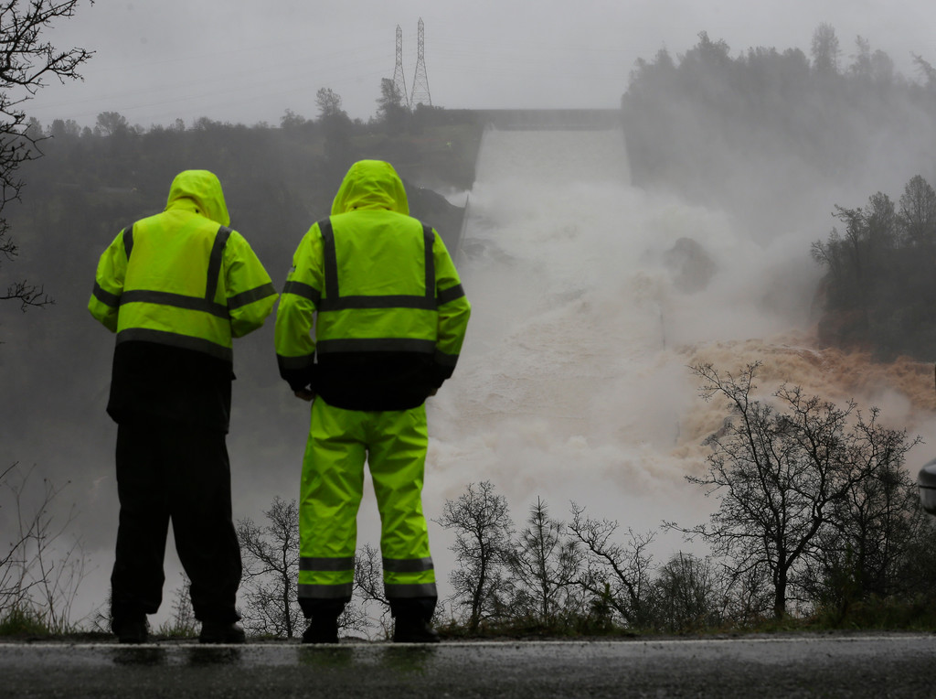 . Water rushes down the Oroville Dam spillway, Thursday, Feb. 9, 2017, in Oroville, Calif. State engineers on Thursday discovered new damage to the Oroville Dam spillway in Northern California, the tallest in the United States, though they said there is no harm to the nearby dam and no danger to the public. Earlier this week, chunks of concrete went flying off the spillway, creating a 200-foot-long, 30-foot deep hole. (AP Photo/Rich Pedroncelli)