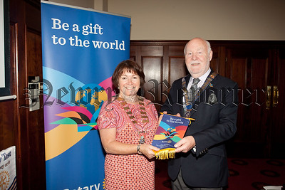 Newry Rotary President Frances Caherty is pictured with District Govenor Declan Tyner. R1534034