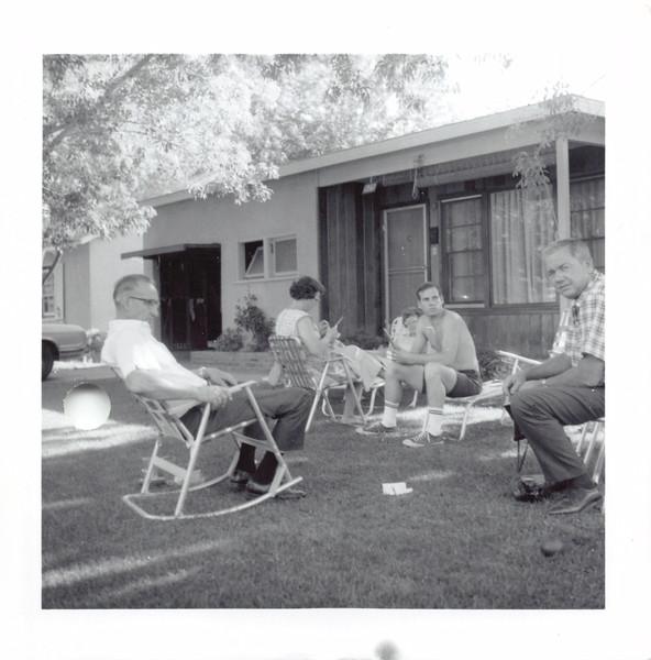 George, Elizabeth, Frankie, Jim, Ruben. Bloom's front yard. 1962?