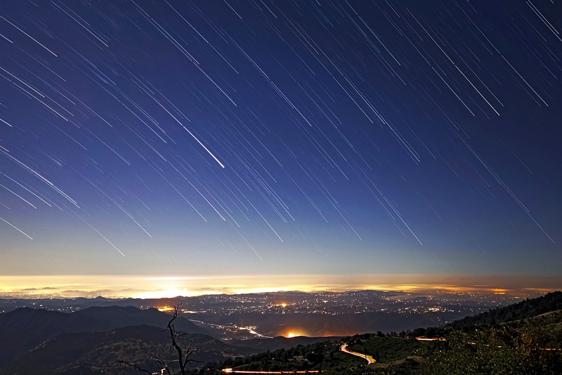 Comet-Like Star Trails Looking Southwest From Palomar Mountain