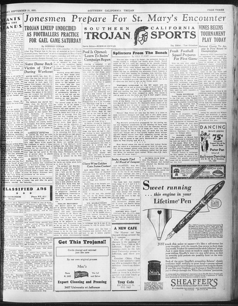 Daily Trojan, Vol. 23, No. 7, September 21, 1931
