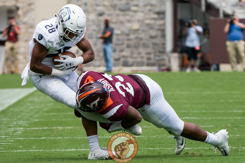 Rayshard Ashby makes a tackle in the matchup against Old Dominion University in Lane Stadium on Saturday, Sept. 7, 2019. (Photo: Cory Hancock)