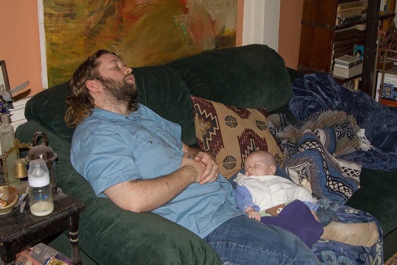 Eric and Quin taking a nap together