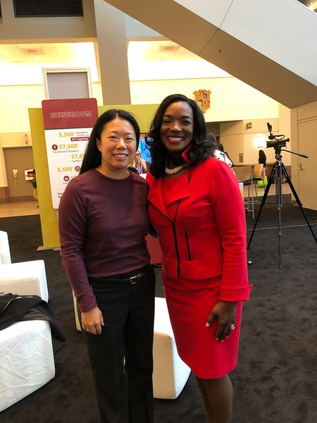 FY19 SWE-SD President (Liz Wong) with WE18 Keynote Speaker (Cindy Kent, Heathcare Executive) prior to SWE podcast recording, October 18. 2018