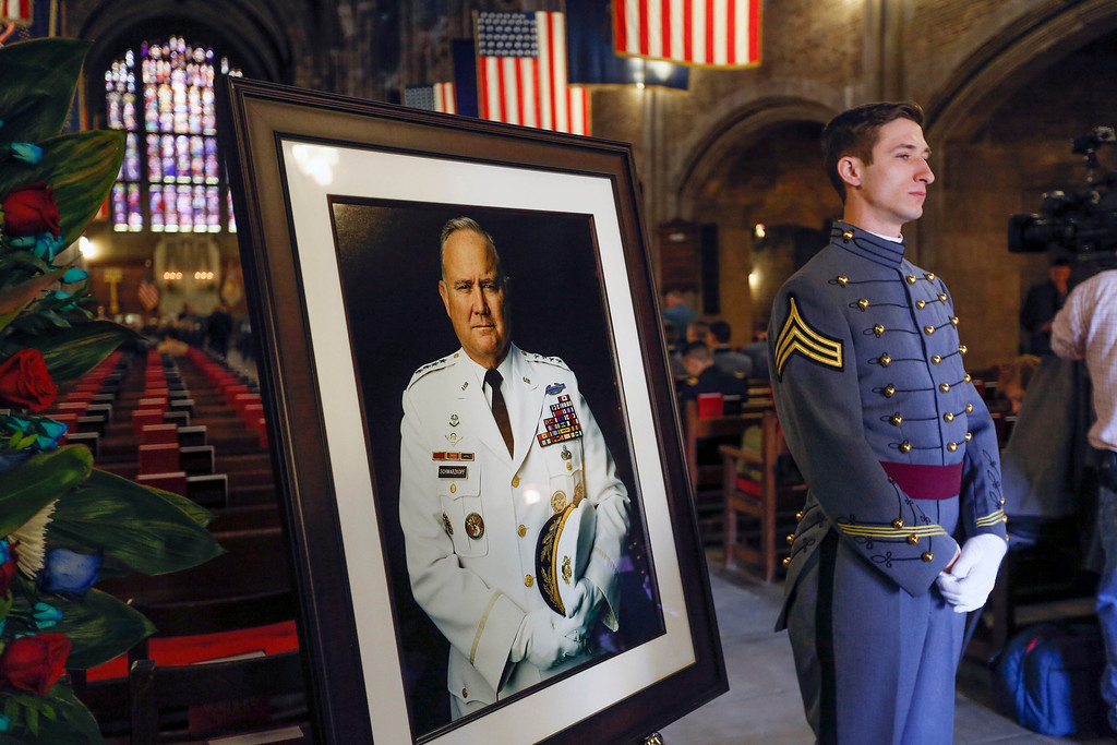 . Cadet Lt. Mark Castelli, of Carmel, N.Y., a member of  Company A-1 of the United States Military Academy Company, waits to escort mourners as they arrive at the cadet chapel for a service for Gen. Norman Schwarzkopf, who was a member of the company as a cadet, at the United States Military Academy on Thursday, Feb. 28, 2013, in West Point, N.Y. Schwarzkopf was 78 when he died of complications from pneumonia on Dec. 27 in Tampa. (AP Photo/Philip Kamrass)
