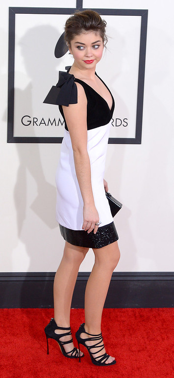 . Sarah Hyland arrives at the 56th Annual GRAMMY Awards at Staples Center in Los Angeles, California on Sunday January 26, 2014 (Photo by David Crane / Los Angeles Daily News)