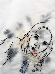"""Self Portrait 3"" (thread, used make up wipe) by Noelle Dederer"