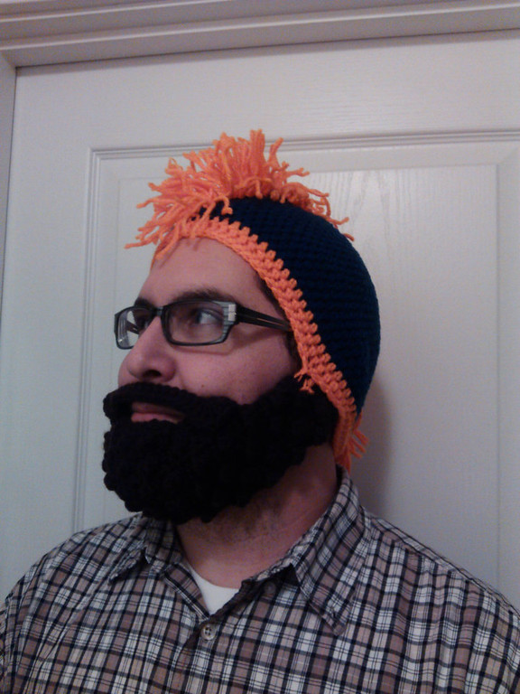 . A friend in Denver made this awesome Broncos Beardhat and shipped it to the rainy Pacific Northwest so I could keep my face warm when I watch games at Buffalo Wild Wings! Ben Gallegos