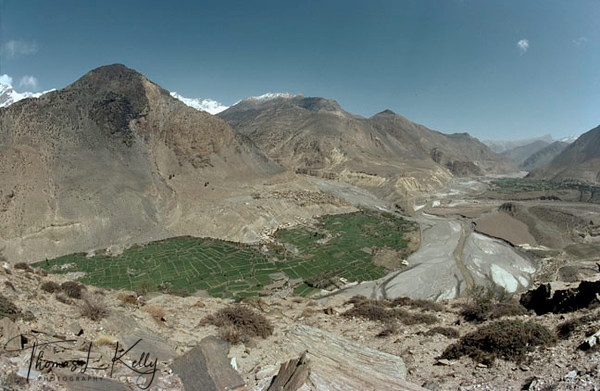 Overview of Tibetan Refugee Camp in Marpha, Kali Gandaki region, Nepal.