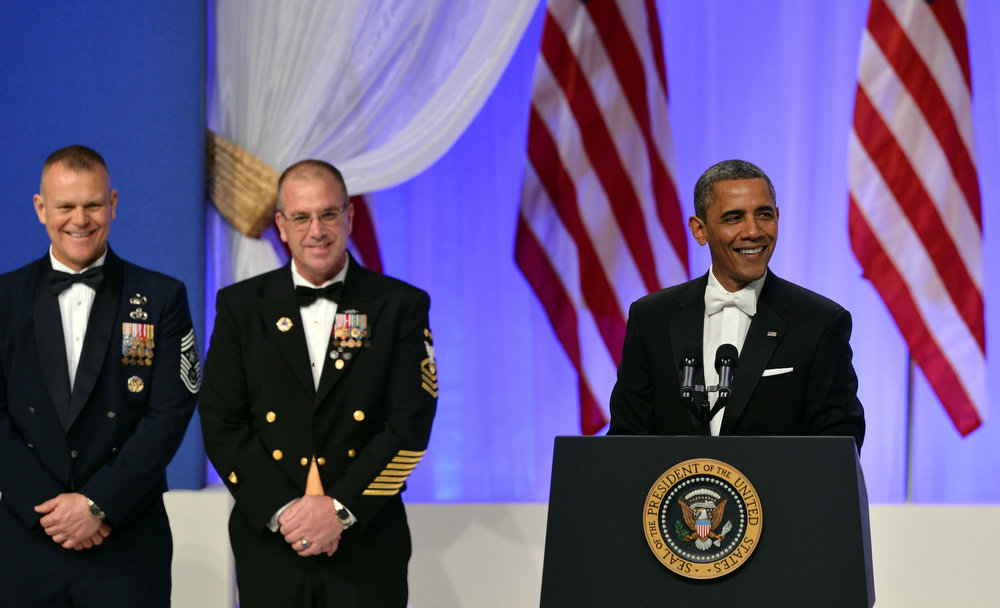 . US President Barack Obama addresses the Commander-in-Chief\'s Ball, honoring US service members and their families, at the Walter E. Washington Convention Center on January 21, 2013 in Washington, DC.  JEWEL SAMAD/AFP/Getty Images