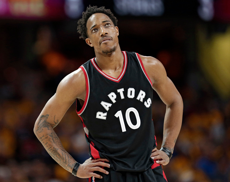 . Toronto Raptors\' DeMar DeRozan looks up in the second half in Game 1 of a second-round NBA basketball playoff series against the Cleveland Cavaliers, Monday, May 1, 2017, in Cleveland. The Cavaliers won 116-105. (AP Photo/Tony Dejak)
