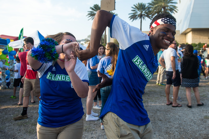 Taylor Akenhead and Jaylin Leve dance durnng The Homecoming tailgate on Saturday, Feb. 18, 2017