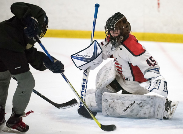 07/25/18 Wesley Bunnell | Staff The Central CT Capitals AA (Newington) were defeated by Kent Elite 07 in 12U Nutmeg Games ice hockey on Wednesday evening. Goalkeeper (45) for the Capitals.