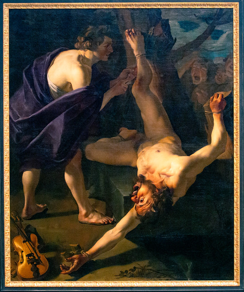 ... and Baburen's painting of Apollo flaying Marsyas after defeating him.