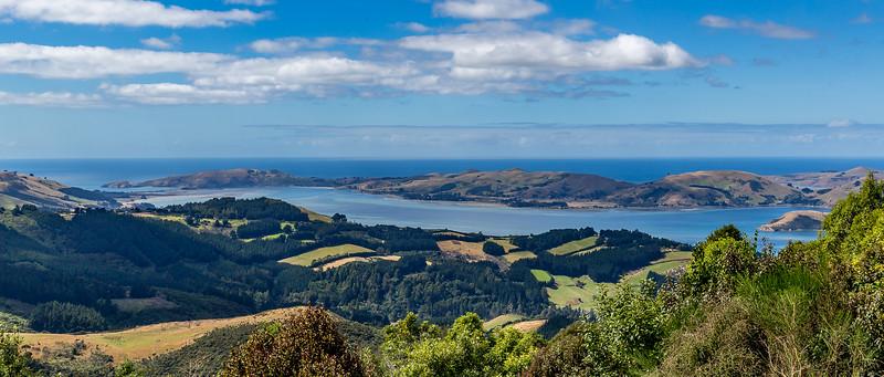 Blick vom Mount Cargill Richtung «Otago Harbour»