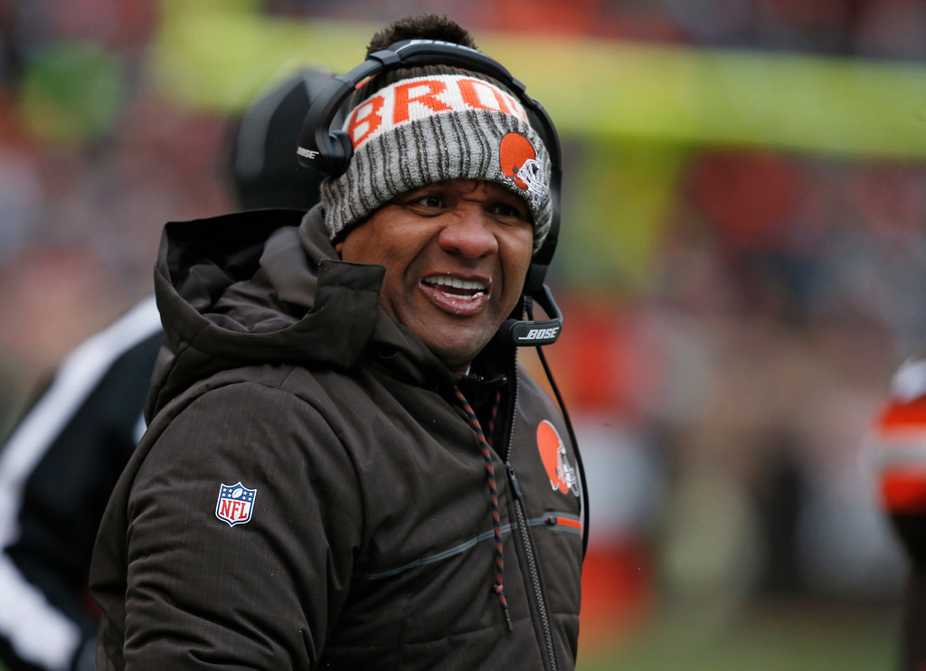 . Cleveland Browns head coach Hue Jackson watches in the first half of an NFL football game against the Green Bay Packers, Sunday, Dec. 10, 2017, in Cleveland. (AP Photo/Ron Schwane)